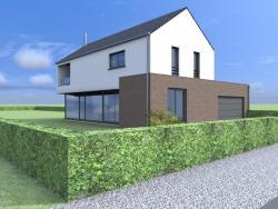 Construction d'une maison unifamiliale en CLT à BRAIVES.